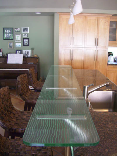 Carved Glass Bar Top