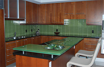 Clear painted glass bar top