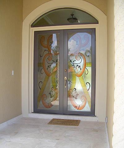 Door with hurricane impact glass - Artistry In Glass