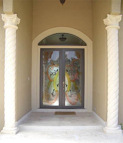 Door With Hurricane Impact Glass Artistry In Glass