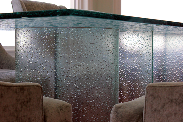 Glass Top Hand Carved And Texture With Matching 1 2 Bent Glass