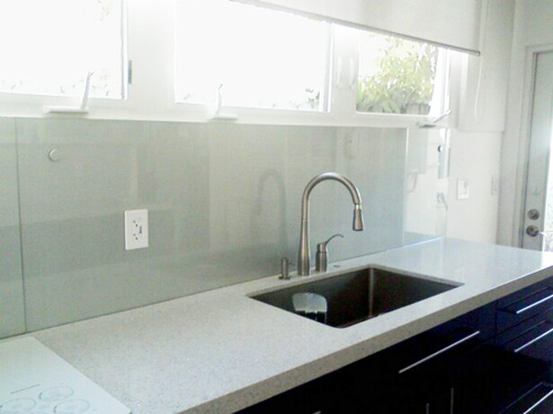 Painted glass backsplash